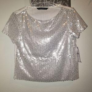 New Zara Basic sequins top